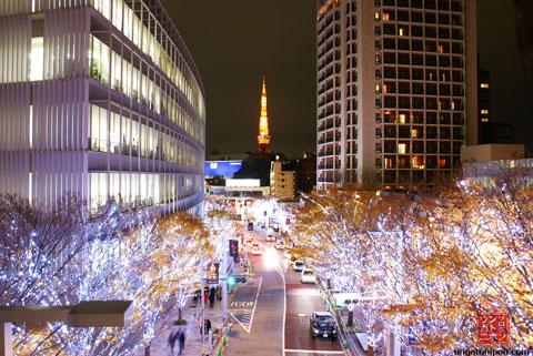 Roppongi por la noche en Navidad