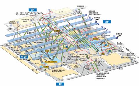 Mapa de la estación de Kioto