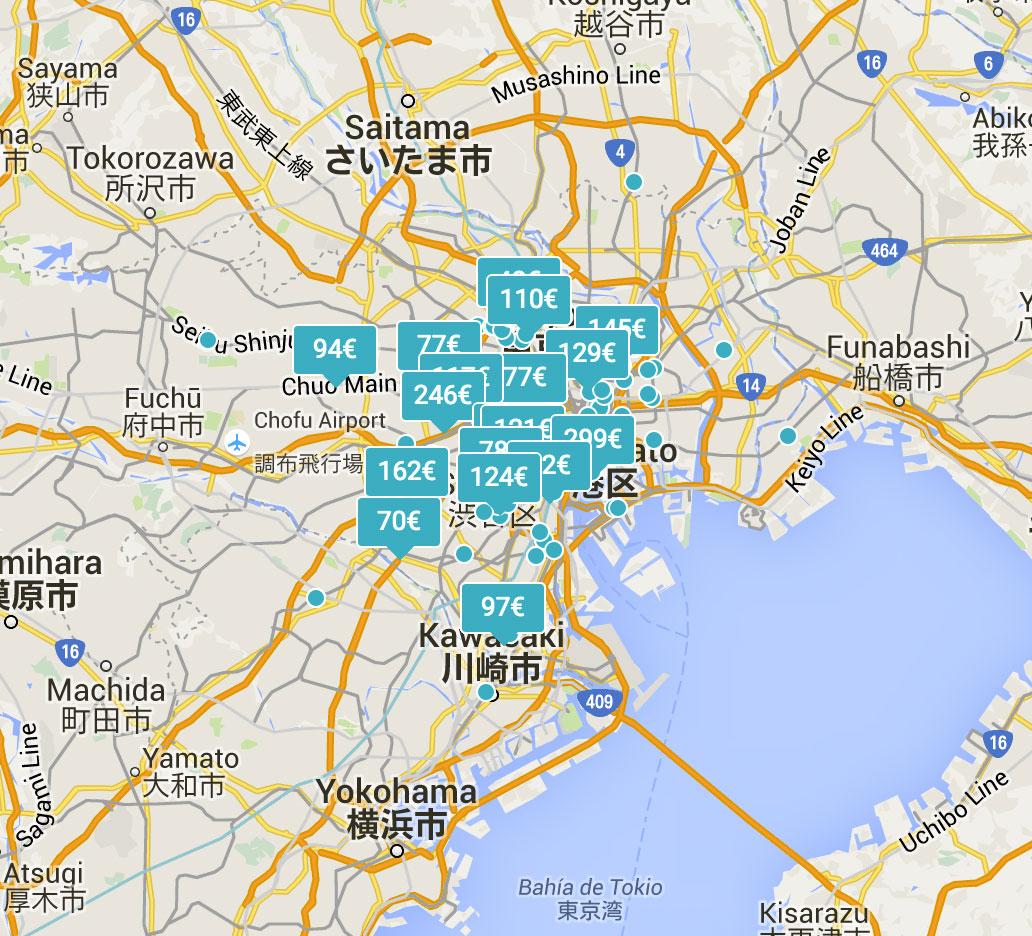 Mapa de apartamentos en Tokio