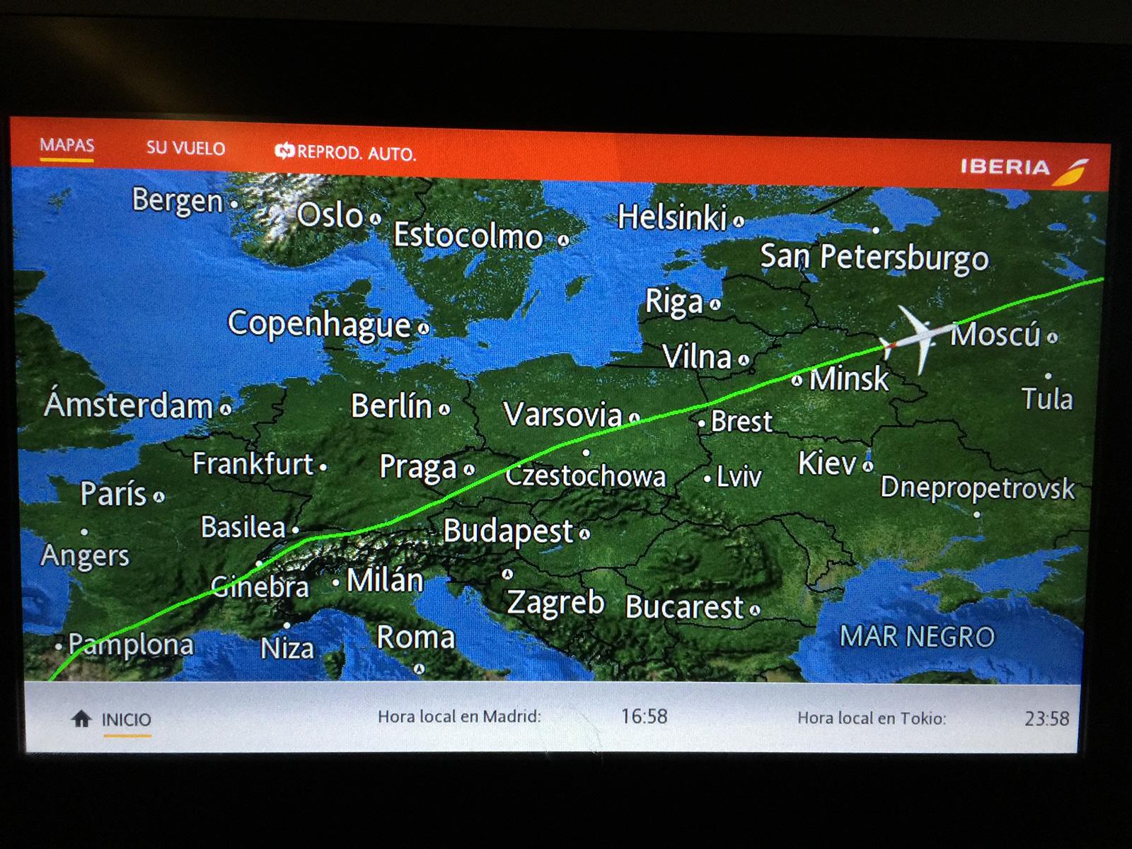 Ruta del Vuelo directo de Iberia a Tokio