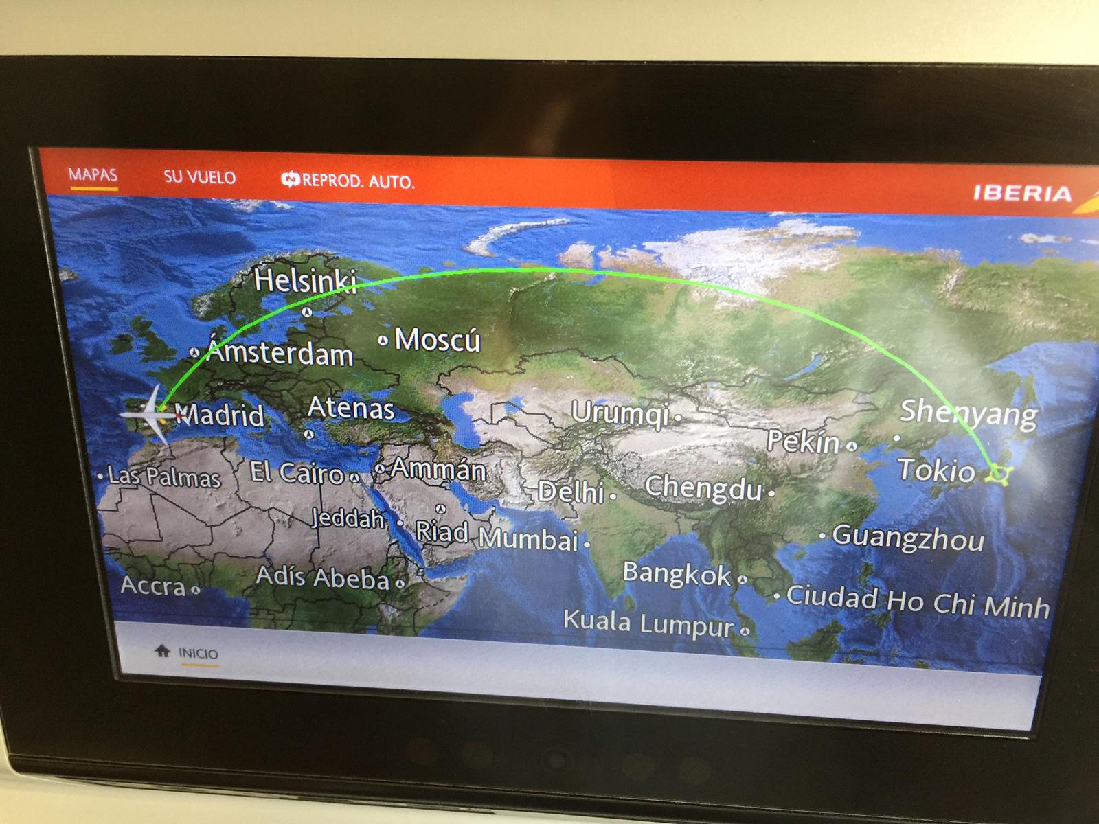 Sistema de entretenimiento con destino a Tokio configurado