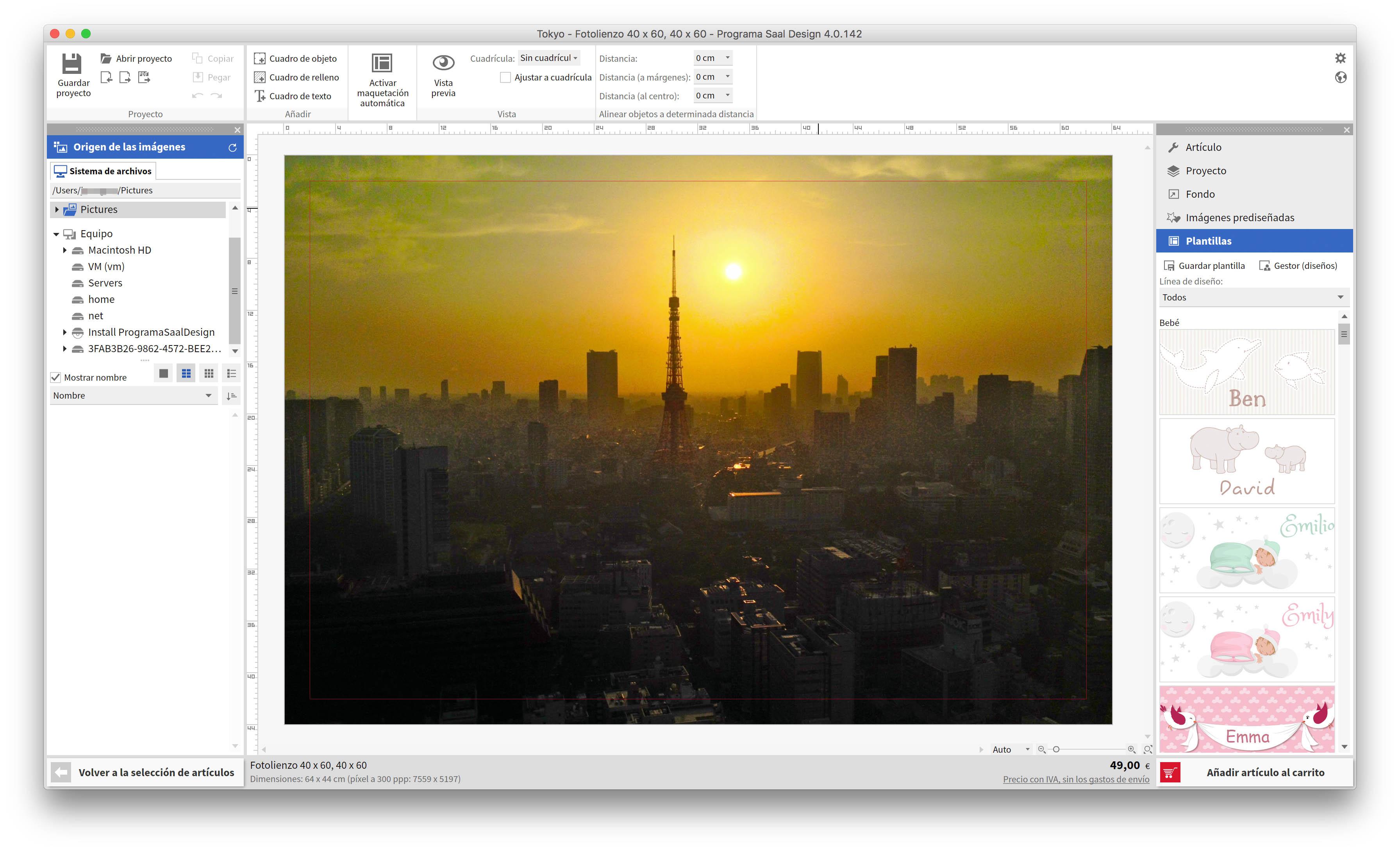 Editando la imagen en el programa