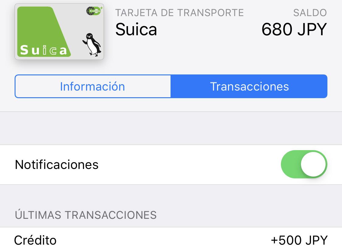 Cargar más dinero en la Suica desde el iPhone