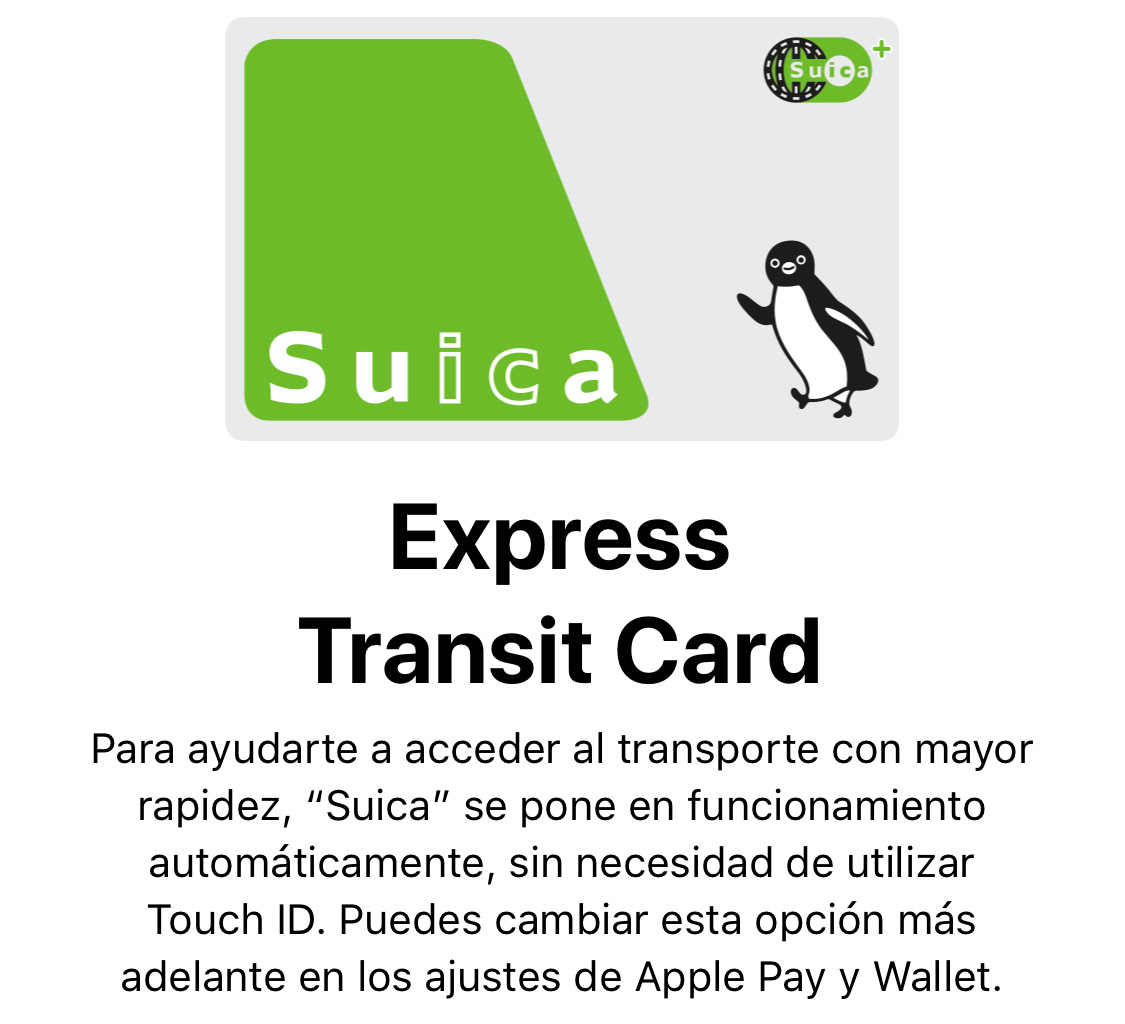 Suica añadida al iPhone