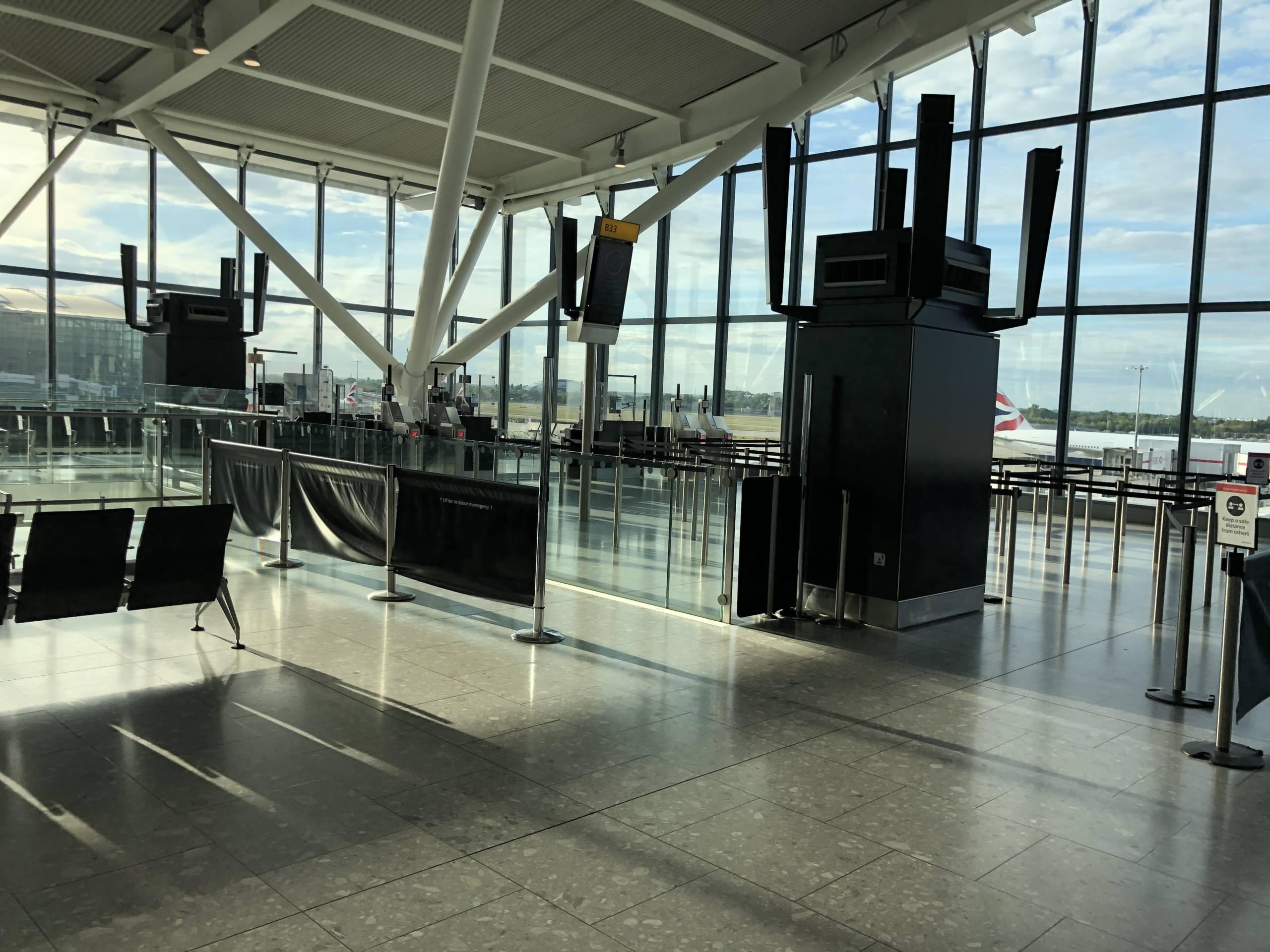 Terminal 5 del Aeropuerto de Heathrow vacía durante la pandemia