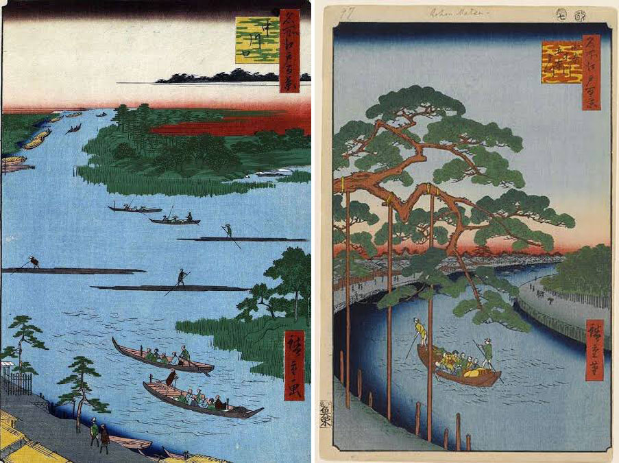 Rió Kyu-Nakagawa en las <em>Cien famosas vistas de Edo</em> (名所江戸百景 <em>Meisho Edo Hyakkei</em>) de Utagawa Hiroshige